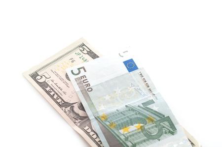 dolar: Dolar vs euro Foto de archivo