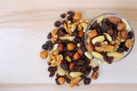 Mixed nuts and dried fruits Stock Photo