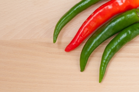 Green and red hot pepper Stock Photo