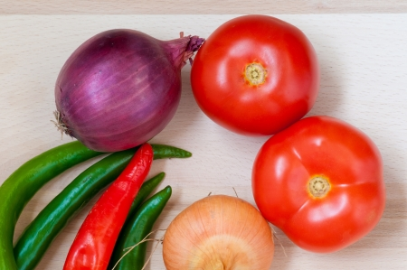 Tomatoes,green and red pepper, onion, potato