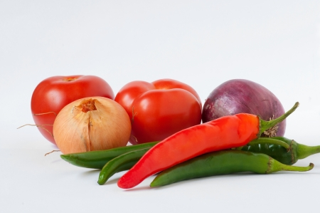 Tomatoes,green and red pepper, onion