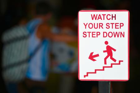 Watch your step sign - step down Stok Fotoğraf - 24369371