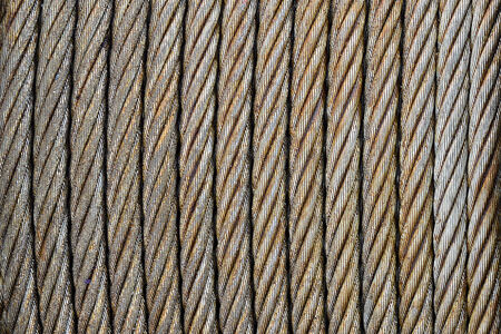 Industrial steel cable on reel with diagonal composition photo