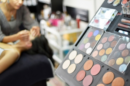 Makeup palette during the makeup session