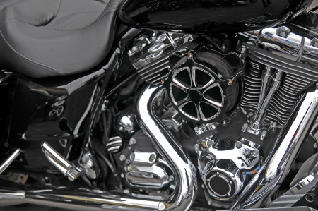 Motorbike, detail of the part of the mechanics of the engine of gasoline