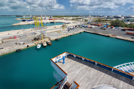 freeport: Logistic industrial harbour in a FreePort Bahamas Stock Photo