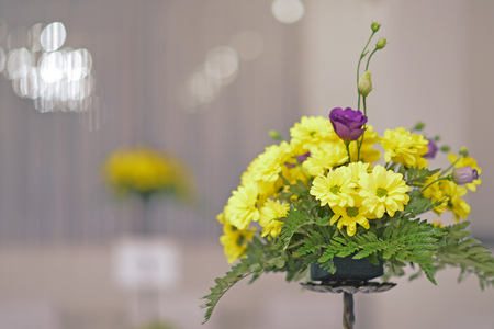 Yellow flower decoration of wedding table  Stock Photo