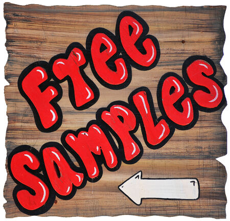 Free Samples write with red paint on the wood wall photo