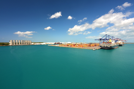 bahama: Ships and shipping yard in grand bahama, freeport - industrial