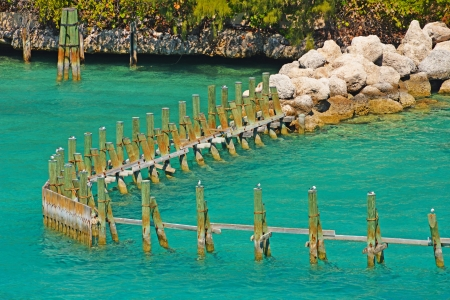 pilings: Old wooden pillars and rocks in the beautiful sea
