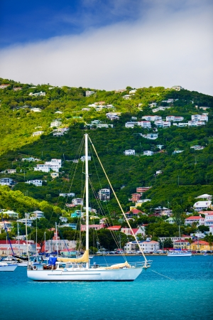 Sailboats anchored in St. Thomas Harbor