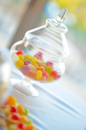 Many colourful wedding party candy photo