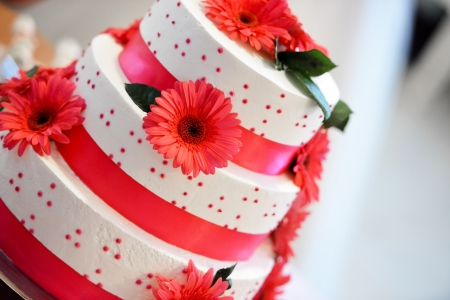 wedding customs: White wedding cake for a groom and bride