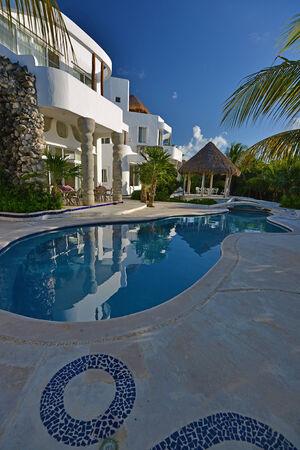 Luxury backyard view in sunset - Cozumel, Mexico  Editöryel