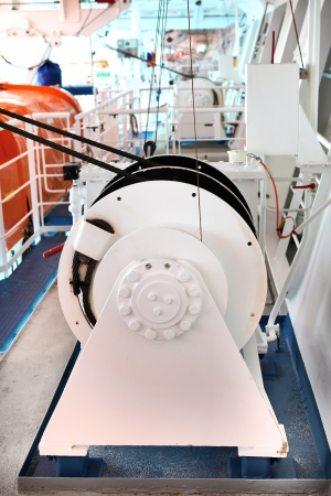 White Winch for launching request boats