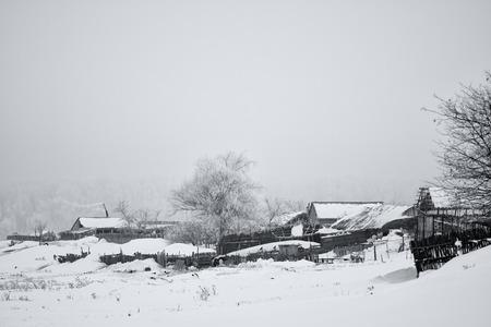Winter rural scene in Romania  Stock Photo