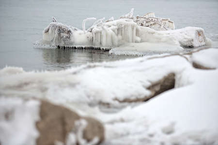 Floe on a Danube River on February 2014 Stock Photo