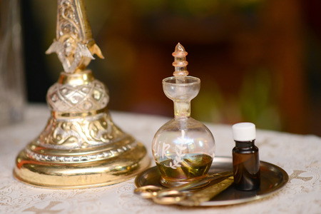 myrrh: Oil prepared for baptism baby holy Christian Church Stock Photo