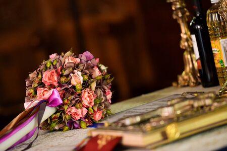 bible altar: Wedding table in church Stock Photo