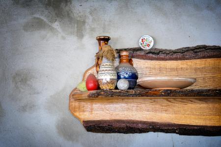 Rustic bottles on a shelf