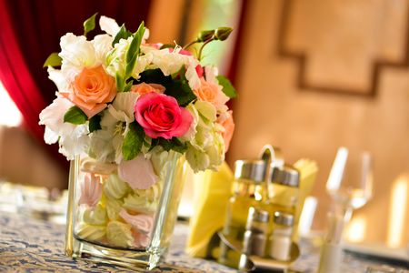 Floral arrangement in a glass with marshmallows Stock Photo