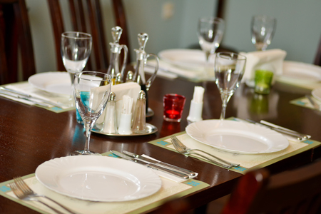 arranging chairs: Arranged table in elegant restaurant