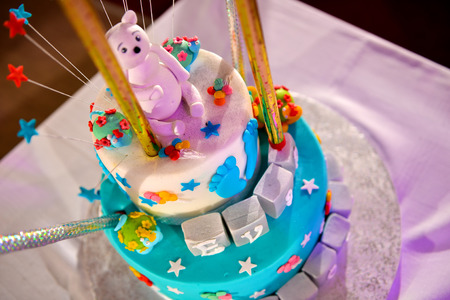 pink teddy bear: Christening cake with pink teddy bear