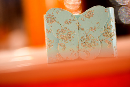 sparkled: Gift box with sparkling butterfly Stock Photo