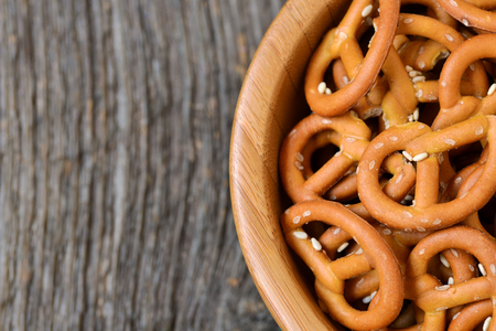salty: Bowl of crunchy and salty pretzels