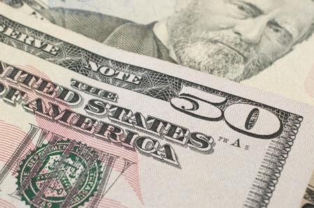 50 dollar bill: Macro detail of a 50 dollar bill
