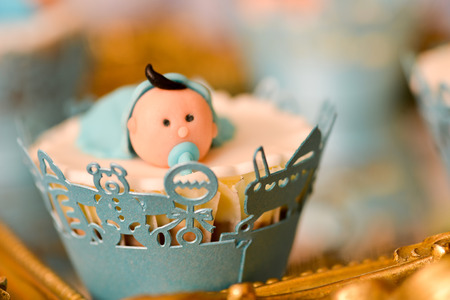 baptize: Christening blue decoration with baby boy