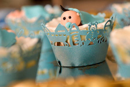 nipple young: Christening blue decoration with baby boy