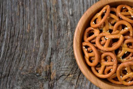 crunchy: Bowl of crunchy and salty pretzels