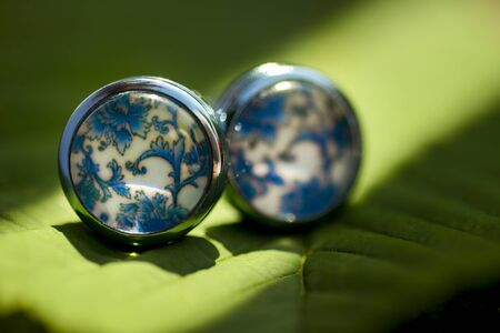 Cufflinks with blue shape on a green leaf in natural light