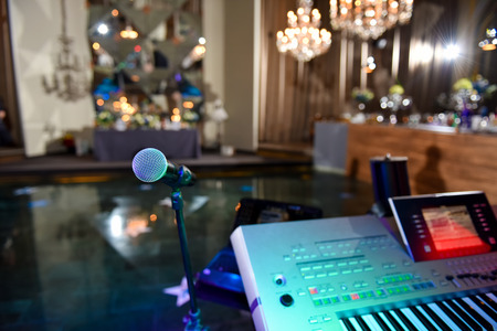 Microphone and electronic organ in ambient light bar