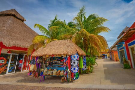 cozumel: Shops in Cozumel Island - Mexico with blue sky