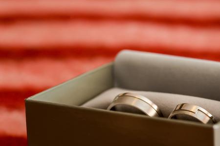 bodas de plata: los anillos de bodas de plata sentado en una caja Foto de archivo