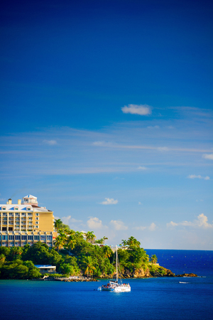 hotel resort: Sunset in St. Thomas from Carnival Cruise Line Ship to Marriott Beach Resort