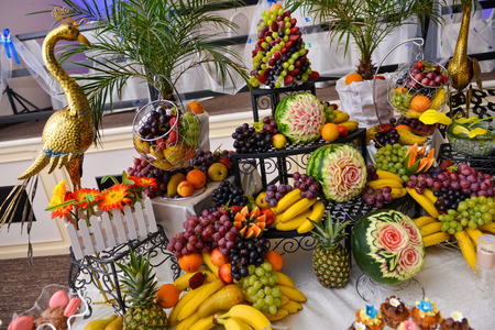mixed marriage: Many type of fruits on a table Stock Photo