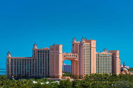 Atlantis - Bahamas with palm tree in natural light Editorial