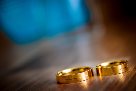 Marriage rings on the table in natural light