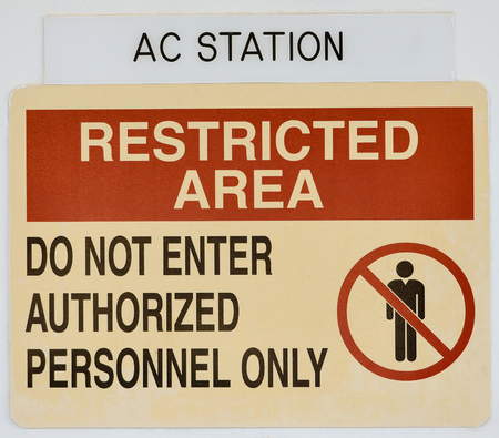 restricted: Notice restricted access people Stock Photo