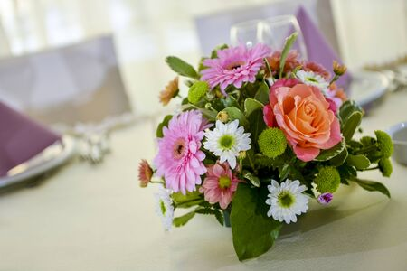 Flower arrangement on the table in natural light Stock Photo