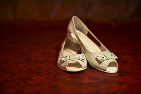 Bridal shoes in natural light indoors