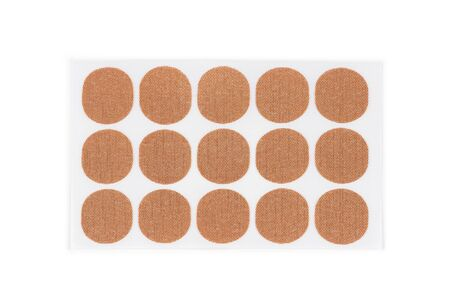 Magnetic medical round patches on white background Imagens