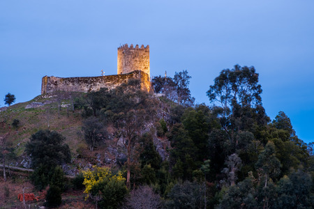 Celorico de Basto, Portugal - February 18, 2018 : The Castle of Arnoia, also known as Castle of the Moors or Castle of Moreira, Celorico de Basto, district of Braga, Portugal.