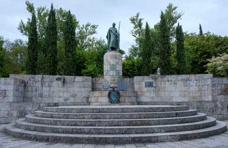 Guimaraes, Portugal - May 31, 2018 : Statue of the first king of Portugal D` Afonso Henriques. Guimaraes, Portugal