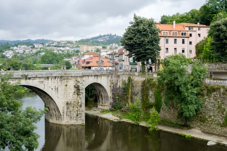 Amarante, Portugal - June 10, 2018 : Bridge of S Goncalo on the river Tamega, Porto district, Portugal