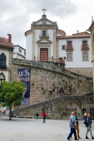 Amarante, Portugal - June 10, 2018 : People walking in the square next to the Church and Convent of S. Goncalo Porto district, Portugal Editorial