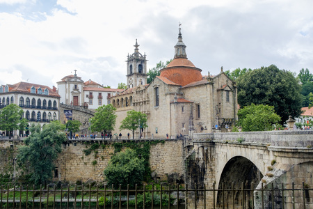 Amarante, Portugal - June 10, 2018 : Bridge of S. Goncalo on the river Tamega, Porto district, Portugal